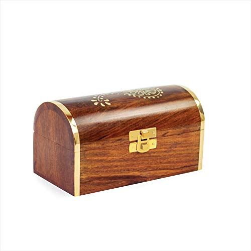 Wooden Rosewood Box & Chest Storage For Jewelry & Other Valuables With Inlaid Brass Work | Nagina International