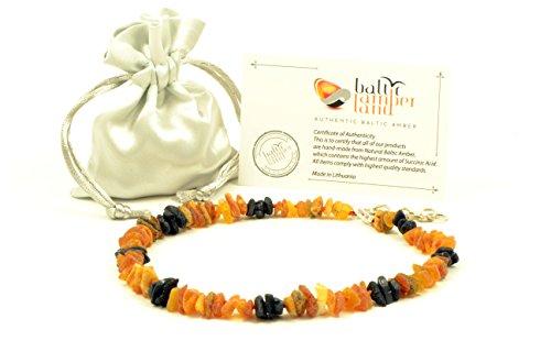 Baltischer Bernstein Pet Halsband mit verstellbarem Trageriemen, 20–65 cm, Natur Floh und Schutz, unpoliert Baltischer Bernstein Perlen … (45cm)