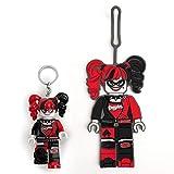 Lego Batman Movie Harley Quinn Keychain Light & Silicone Luggage Tag Set - 3 Inch Tall Keychain Light