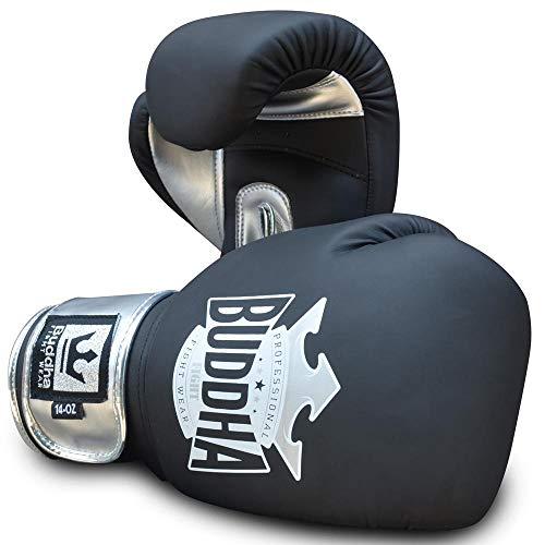 Buddha Fight Wear Guantes de Boxeo Top Fight Negro Mate 12 Onzas