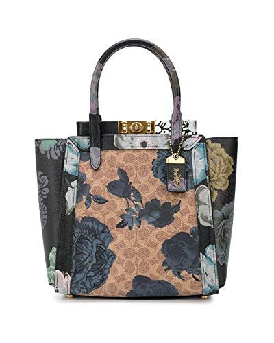 Coach Troupe Tote Signature Canvas Kaffe Fassett Print Military Flower Floral Bag Handbag New