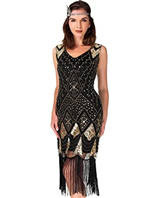 Women's Cocktail 1920s dresses - Gatsby Sequin Art Deco Flapper Dress