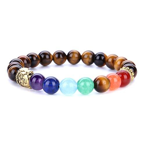 YAZILIND 8mm Energía Gemstone Jefes budistas Forma Yoga Budismo Pulsera 7 Chakra Reiki Curación Equilibrio Pulseras de Piedra Natural (# 4)