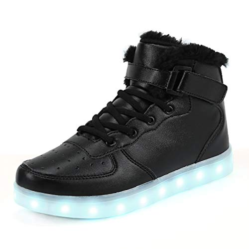 FLARUT 7 Farben LED Schuhe USB Aufladen Leuchtschuhe Licht Blinkschuhe Leuchtende Sport Sneaker Light Up Turnschuhe Damen Herren Kinder (30 EU, Schwarzes Fell)