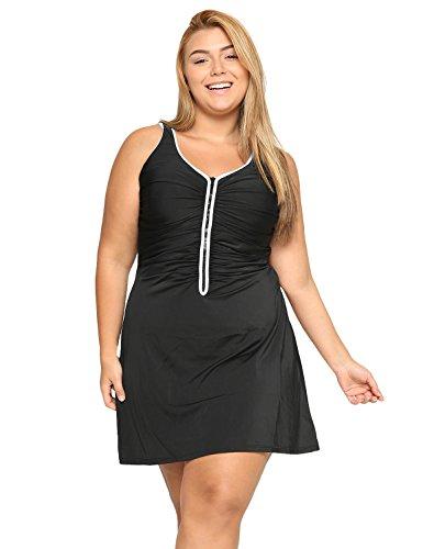 DELIMIRA Damen Badekleid Badeanzug - Reißverschluss Einteiler mit Röckchen Große Größen Schwarz 52