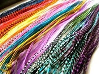 "Feathers for Hair Extension 20 Individual Vivid Color Grizzly & Solid Feathers 7""-10"" Salon Quality Feathers"
