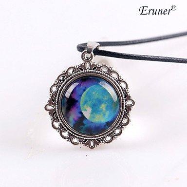 JYZHP Colgante de cristal hecho a mano con forma de cúpula de cabujón, collar de babero, nebulosa colorida