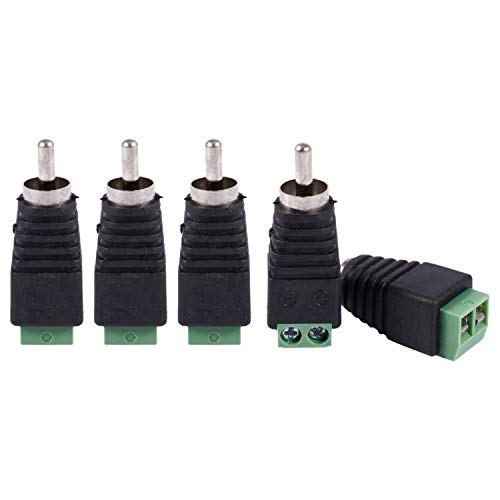 ACAMPTAR 5Pcs UTP Cat5 Cat6 Cable una CCTV AV Phono RCA Macho Jack Adaptador de Enchufe