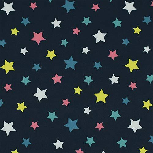 Softshell Stoff bunte Sterne, wind- und wasserabweisend, marine (50cm x 145cm)