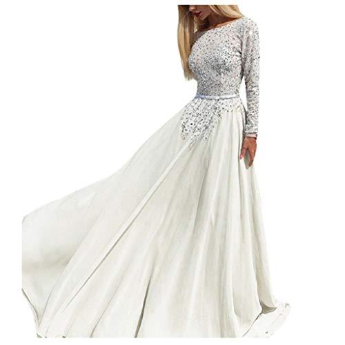 Electri Damen-Kleid, lang, mit Applikationen, durchbrochen, rückenfrei, lange Ärmel, elegant, Abendkleid, Meerjungfrau, V-Ausschnitt, kurze Ärmel aus Spitze, Damen m weiß