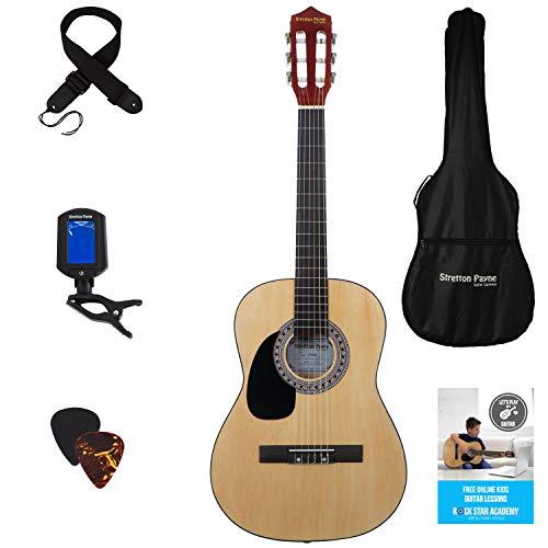 Guitarra acústica de mano izquierda, paquete de 3/4 tamaños (36 pulgadas), cuerda de nailon clásica para niños, paquete de guitarra natural