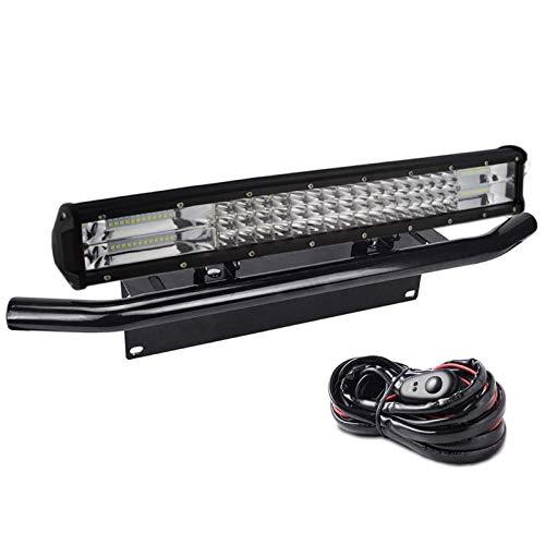 SKYWORLD LED-Lichtleiste, 7D 20 Zoll 288W Spot-Flood-Kombistrahl-Arbeitsscheinwerfer mit schwarzer Kennzeichenhalterung Kabelbaum-Kit für LKW PKW ATV SUV 4x4 LKW Boot