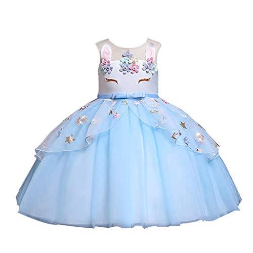 Vovotrade Costume da Principessa Unicorno per Bimba con Vestito Lungo Compleanno Ballerina Abiti Bambini Carnevale Halloween Cosplay Abito Arcobaleno Festa Cerimonia Nozze Sera Ragazze
