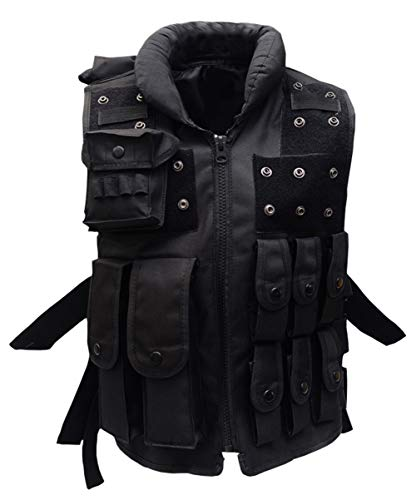 Gskids Tactical Vest Children's Adjustable Outdoor Clothing Military Clothing Black