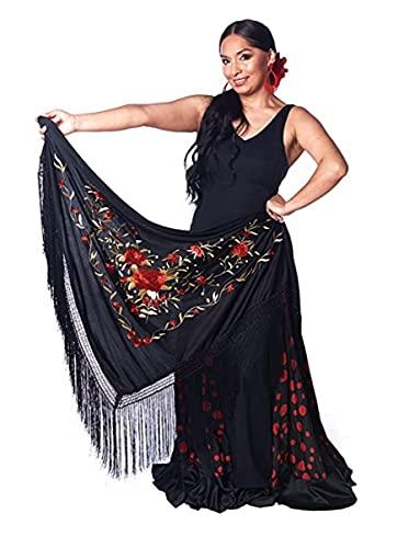 AMINA Mantón pico flamenco con flecos. Bordado a una cara rojo-dorado. Grande 190X90cm
