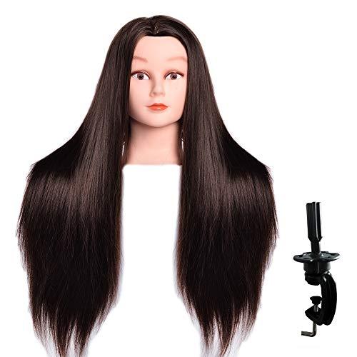 LuAiJa Mannequin Head 26 -28  Long Synthetic Fiber Hair Styling Training Head Manikin Cosmetology Doll Head Hair with Free Clamp Holder (Black Synthetic Fiber Hair)
