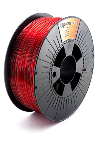 Basicfil PET 1.75mm, 1 kg filamento per stampante 3D, Rosso trasparente