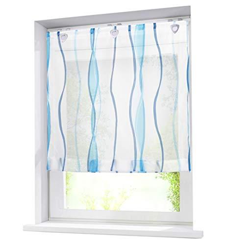 BAILEY JO Voile Raffrollo mit Wellen Druck Design Rollos Schlaufen Transparent Vorhang (BxH 80x140cm, Blau mit U-Haken)