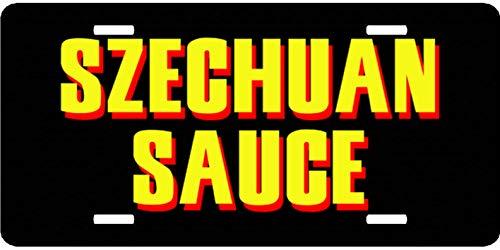 EADFH Szechuan Sauce Vintage Retro Metal Sign Wall Plaque Neuheit Auto vorne Nummernschild Tag Zeichen