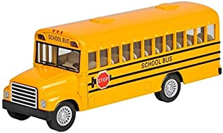 Rhode Island Novelty 5 Inch Die Cast School Bus with Pull-Back Action, 1 Per Order