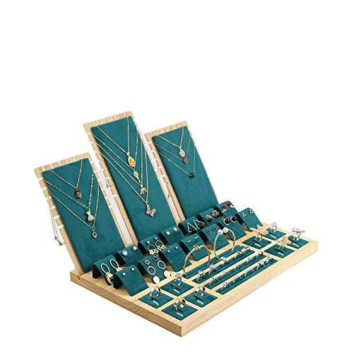 DZS Juego de soporte de exhibición de joyas de franela, color verde, para anillos, pendientes, collares, exhibición a mano, caja de madera