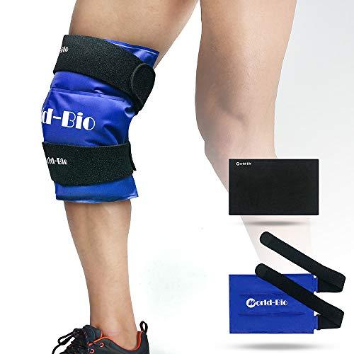 Bolsa gel reutilizable de hielo multiusos para aplicar frío y calor - con banda de compresión - Para lesiones en la rodilla, alivio rápido del dolor en espalda, hombro y tobillo - grande