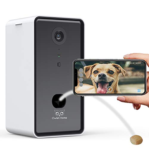 Owlet Home | Pet Camera with Treat Dispenser & Tossing for Dogs/Cats, WiFi, 1080P Camera, Live Video, Auto Night Vision, 2-Way Audio, Compatible with Alexa