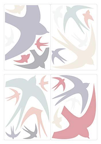 dekodino® Fenstersticker Kinderzimmer Pastell Schwalben im Flug Set