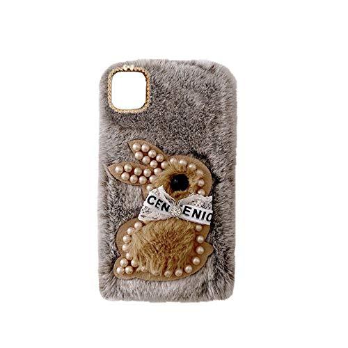 YHY F62 Estuche Teléfono Móvil Estilo Lindo 3D Perla Linda Peluche De Conejo para Samsung Galaxy F62 Marrón