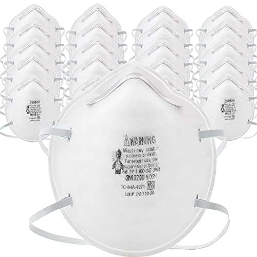 3M N95 Particulate Respirator 8200, Pack of 20, Disposable, Sweeping,...