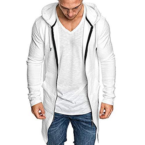 Lowest Price! Sumeimiya Men's Casual Sweatshirt Long Sleeve Slim Fit Lightweight Cardigan Solid Color Comfort Jacket Coat White