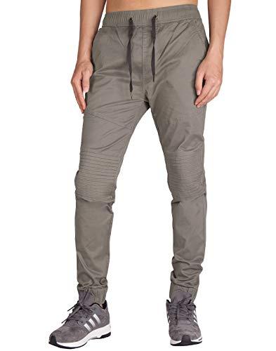 ITALYMORN Pantaloni Jogging Uomo Sportivi Cotone Joggers Pants Slim Fit Lunghi con Coulisse Tasche Laterali (S, Medio Grigio)