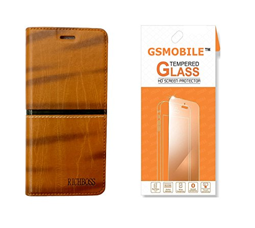 GSMOBILE Wallet Cover Book Kick Stand Leather Flip Cover with Tempered Glass Screen Protector for Samsung Galaxy Grand Prime (G530)-Brown(Combo)