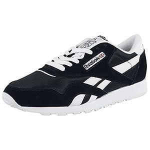 Reebok Men's Classic Nylon Sneaker, Black/White, 10.5