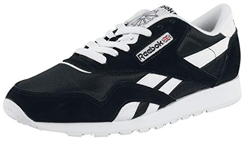 Reebok Herren Classic Nylon Sneakers, Schwarz (Black/White), 40.5 EU