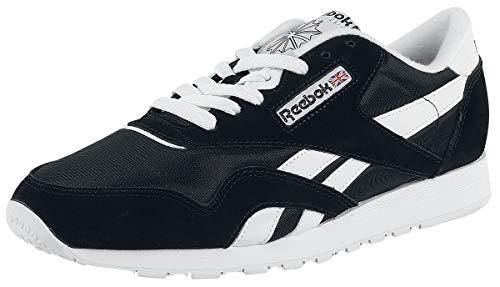 Reebok Men's Classic Nylon Sneaker, Black/White, 10
