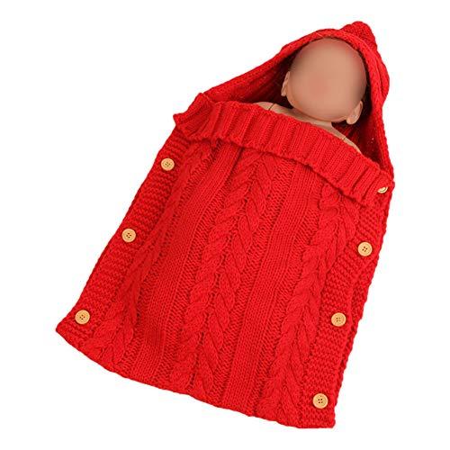 Zhuhaixmy Baby Schlafsack für Kinderwagen - Winter Stricken Decke mit Kapuze Schlafsack Warmer Fußsack für 0-12 Monate Infant