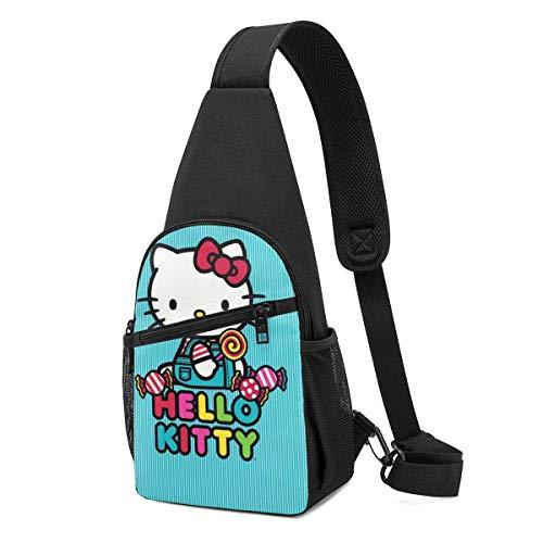 Trista Bauer Sling Bag - Hello-Ki-tty Blue Crossbody Sling Mochila Viaje Senderismo Pecho Mochila Daypack para Mujeres Hombres