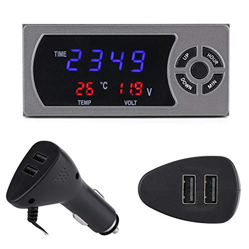 3-en-1 12-24V LED thermomètre voltmètre horloge numérique de voiture, Thermomètre LCD digital pour voiture, Comprend 1 horloge de contrôle pour voltmètre numérique, 1 prise de voiture.