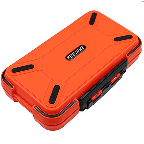 KEESHINE Fishing Tackle Box, Floating Storage Box, Double-Sided Fishing Lure Box with Adjustable Dividers Storage Jewelry Organizer Making Kit Container for Lure Hook Beads Earring Tool(Orange)