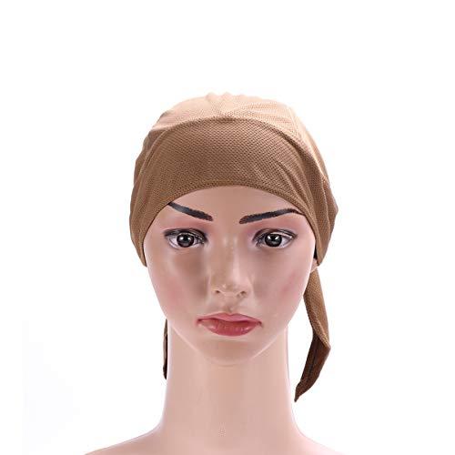 BESPORTBLE Doo Rags chapéu de crânio de secagem rápida absorve o suor, chapéu de ciclismo, bandana, proteção UV, capa de cabeça de capacete de resfriamento para homens, mulheres, cor de areia