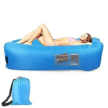 Canapé Gonflable Imperméable, Coussin Gonflable Portable Extérieur, Pliable, Sac de Rangement Intégré, Hamac Gonflable pour Camping, Plage