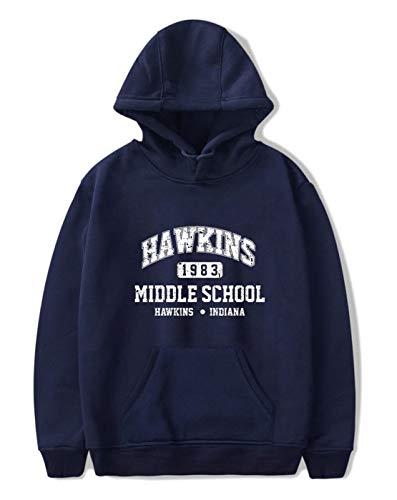 SIMYJOY Unisex Hoodie Hawkins Middle School Pullover 1980er Jahre Mode Vintage Sweatshirt Stranger Things Streetwear für Mann Frau Teen blau A L