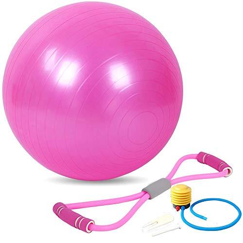 Xinlie Balance Ball 45cm 8-Wort-Zugseil Acht 8 Wort Brust Zugseil Sitzball Pezziball Yoga-Ball Pilates Yoga Ball mit Pumpe Anti-Burst Fitness Balance Ball für Core Strength Pink(2 Stück)
