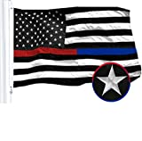 G128 - Thin Blue Line Thin Red Line Embroidered 2x3FT U.S. American Flag Brass Grommets (Thin Red + Thin Blue 2x3 FT)
