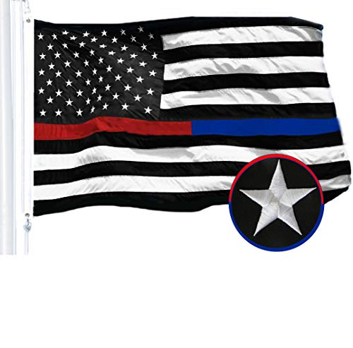 G128 - Thin Blue Line Police & Thin Red Line Firefighter Embroidered 3X5ft U.S. American Flag Brass Grommets Respect Honoring Law Enforcement Officers First Responder USA Flag