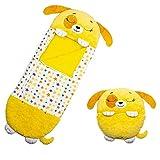 Play Almohad, Divertido Saco de Dormir Sorpresa, Sacos de Dormir Plegables/Lavables, 2 En 1 Saco De Dormir Y Almohada para Dormir, Suave, Cómodo, para niños (Perro Amarillo)
