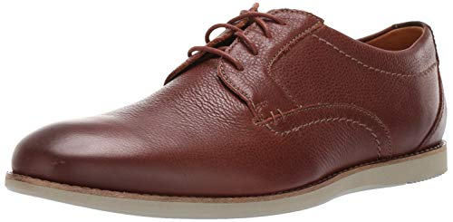Clarks Men's Raharto Plain Oxford, Brown Tumbled Leather, 120 M US