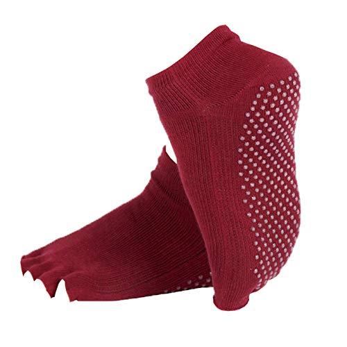 JK Home Women Soft Cotton Yoga Barre Socks Open Toe Anti Slip Sport Sock A-Open Toe-Red