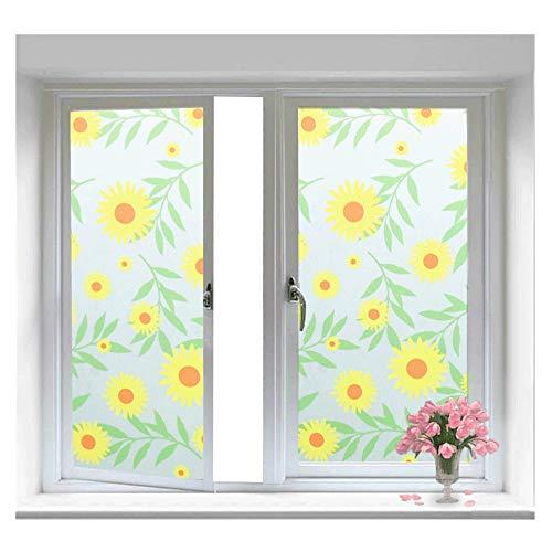 XYanZi Statische Privacy-raamfolie, Zonnebloempatroon Decoratie Zelfklevend  Voor UV-blokkerende Heat Control Glass Tint Stickers  Voor Home Woonkamer Slaapkamer Glasfilm (Size : 45x60cm)